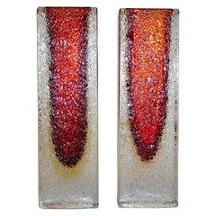 1950 Italian Pair of Organic Crystal, Yellow & Red Murano Art Glass Flower Vases