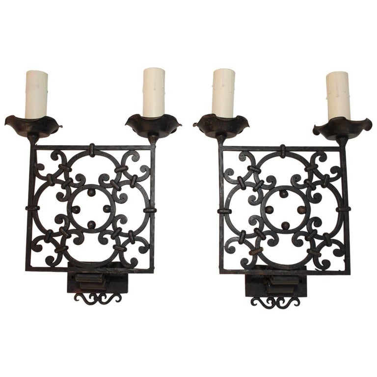 Elegant Pair of French 1930s Wrought Iron Sconces
