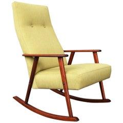 Broderne Johansons Teak Frame Rocking Chair in Celery Tweed