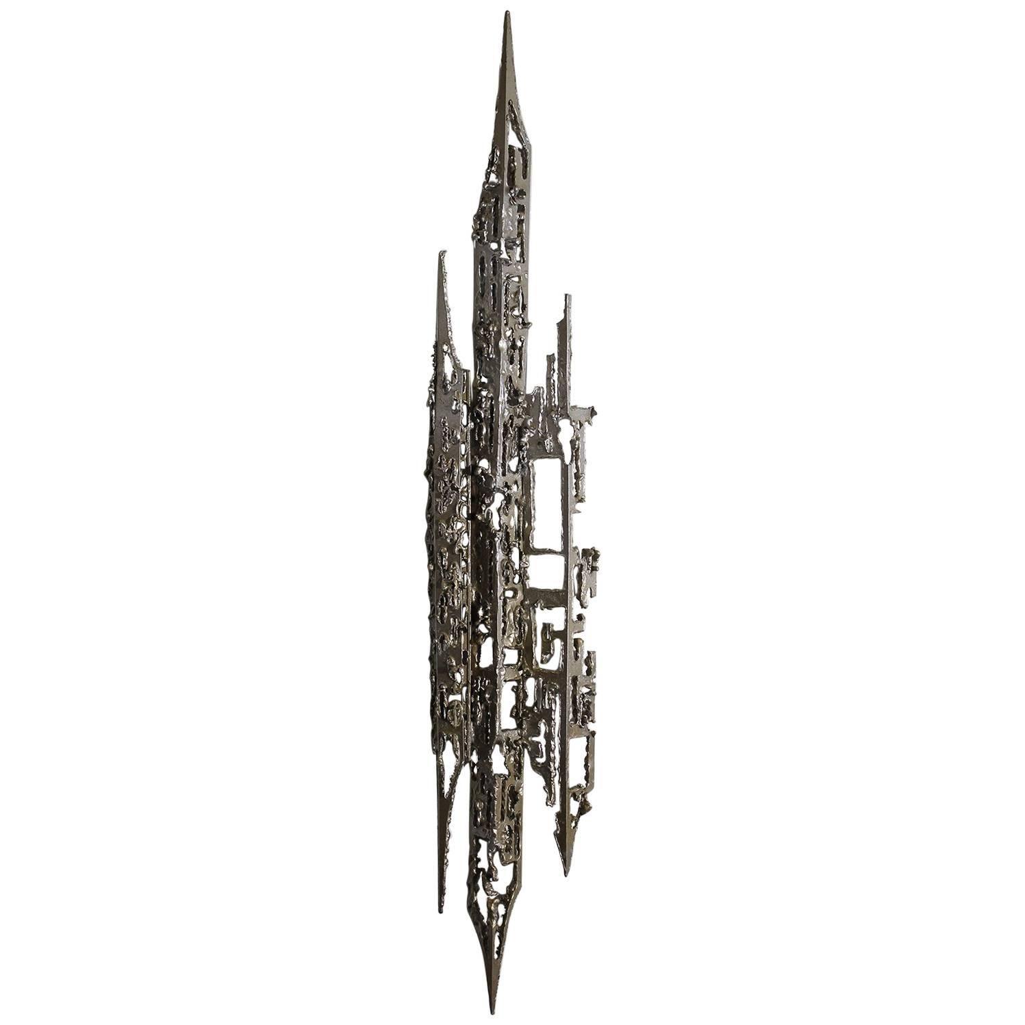 Modernist Brutalist Torch Cut Aluminium Wall Sculpture