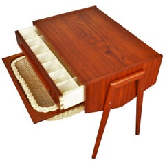 Danish Teak Atomic Style Side Table with Segmented Drawer and Basket