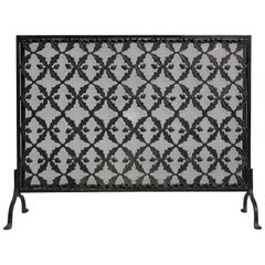 Antique Arts & Crafts/Aesthetic Movement Cast Iron Fire Screen with Acorn Motif