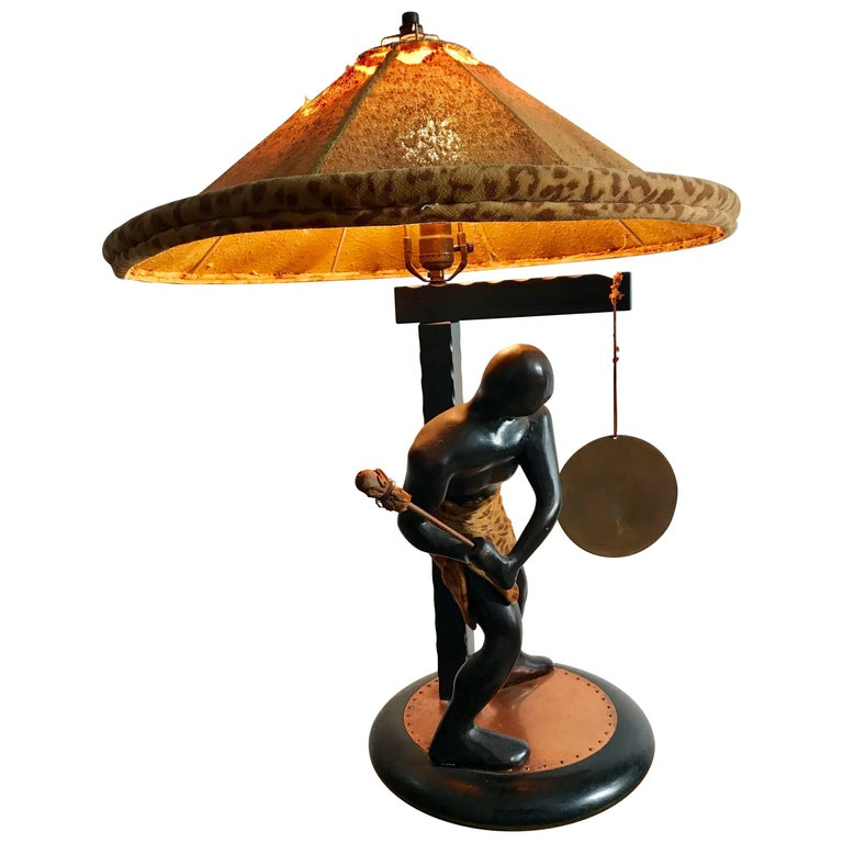 Rare Mid-Century Modern Table Lamp, Nubian Man Hitting Gong, Moss Lamp Co For Sale