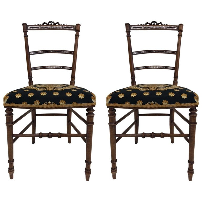 Pair Of Eastlake Mother Pearl Inlay Chairs For