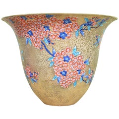 Gilded Porcelain Vase by Japanese Master Artist 'Cherry Blossom Series'