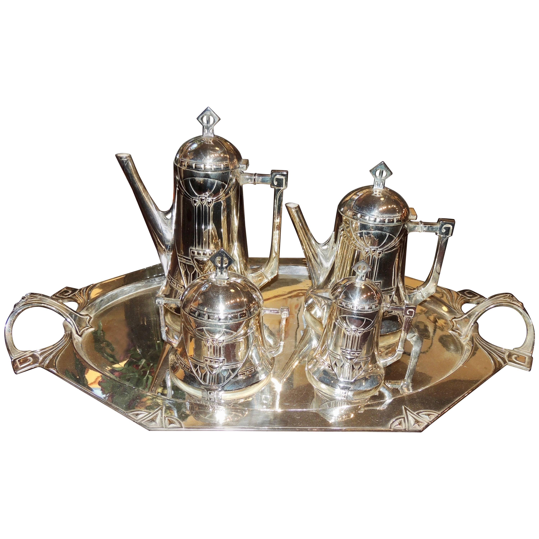 Silver Tea and Coffee Set WMF Art Nouveau Jugendstil Five-Piece