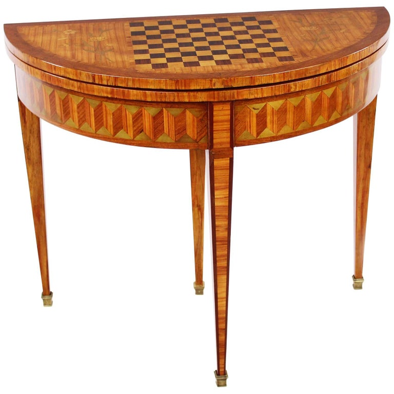 French 19th Century Demilune Folding Table, Game Salon Table