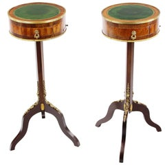 French 19th Century Pair of Small Drumtables, France, Rosewood Veneered, Leather