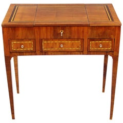 Early 19th Century Dressing Table, Poudreuse, Mahogany Veneered, Marquetry Works
