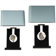 Pair of Table Lamps Black Resin and Pyrite by Stan Usel