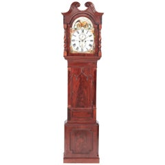 Fantastic Antique Mahogany 8 Day Painted Face Moonphase Grandfather Clock