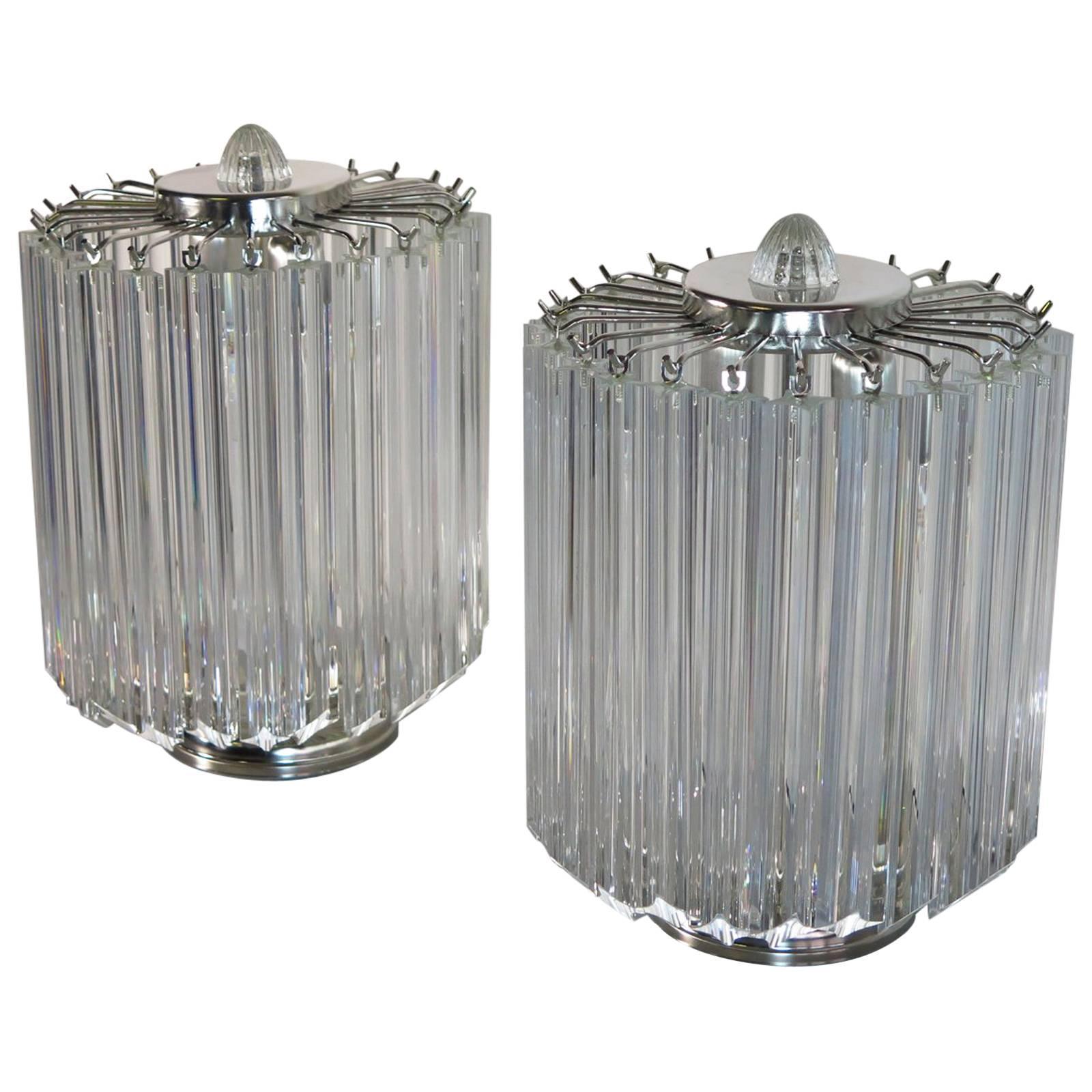 Clear Quadriedri Table Lamp, Venini Style