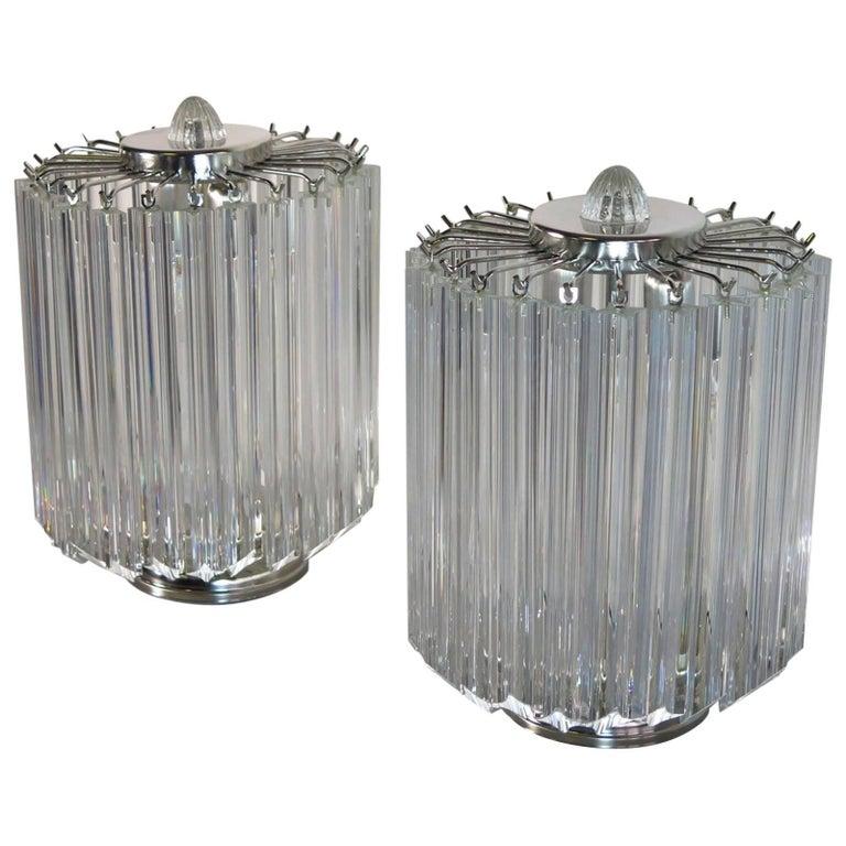 Clear Quadriedri Table Lamp, Venini Style For Sale