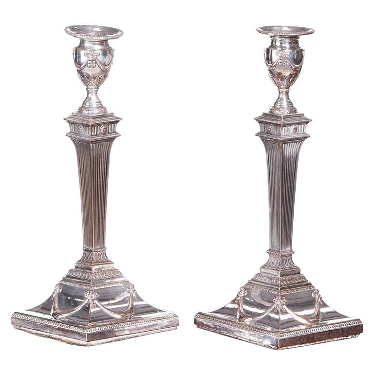 Pair of George III Silver Plated Candlesticks