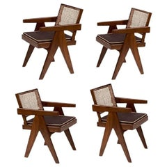 Pierre Jeanneret Teak Four Office Cane Armchairs for Chandigarh, India, 1950s