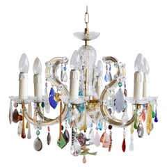 French Glass Marie Thérèse Chandelier with Multicolored Drops