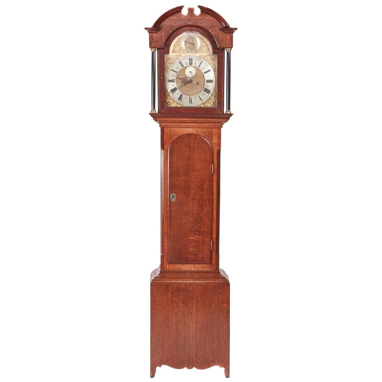 Antique Oak Brass Face 8 Day Grandfather Clock For Sale