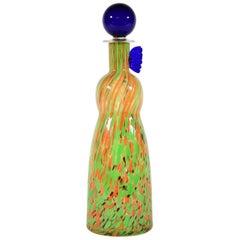 Carlo Moretti Green Orange and Blue Murano Glass Bottle