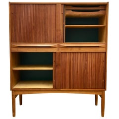 Midcentury Teak Cabinet with Tambour Doors by Ib Kofod Larsen for Federicia
