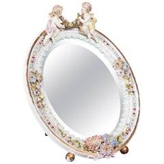 Large Antique Continental Porcelain Easel Mirror