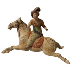 Painted Red Pottery Female Polo Player Astride a Galloping Pony