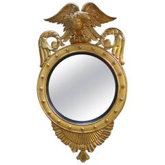 Early 20th Century Eagle Crested Circular Mirror
