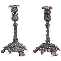 Pair of 19th Century Bronze Candlesticks