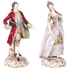 Pair of Antique Dresden Figures