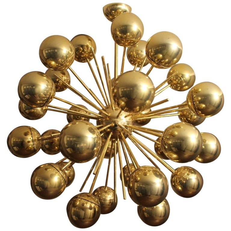 Midcentury Style Italian Sputnik Brass and Gold Murano Glass Chandelier