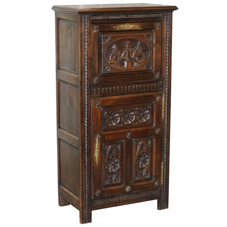 Lovely Early Victorian Hand-Carved Tall Cabinet for Documents & Storage Jacobean