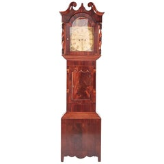 Large Antique Mahogany 8 Day Painted Face Longcase Clock