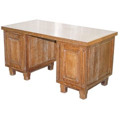 Art Deco Limed Oak Double-Sided Twin Pedestal Partner Desk Cupboards Both Sides