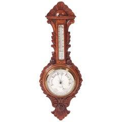Antique Carved Oak Anerold Banjo Barometer