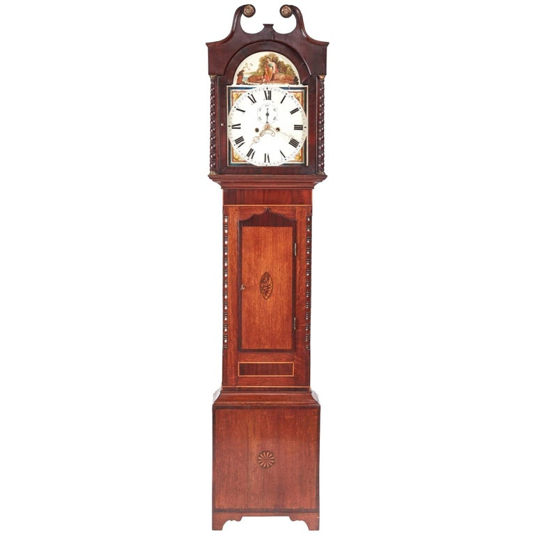 Antique Oak and Mahogany Inlaid 8 Day Grandfather Clock For Sale