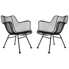 Pair of Russel Woodard Mid-Century Modern Sculptural Patio Wire Lounge Chairs