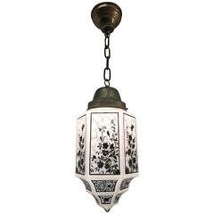 Hexagonal Shape 1930s Art Deco Opaline Glass Shade and Brass Chain Pendant Light