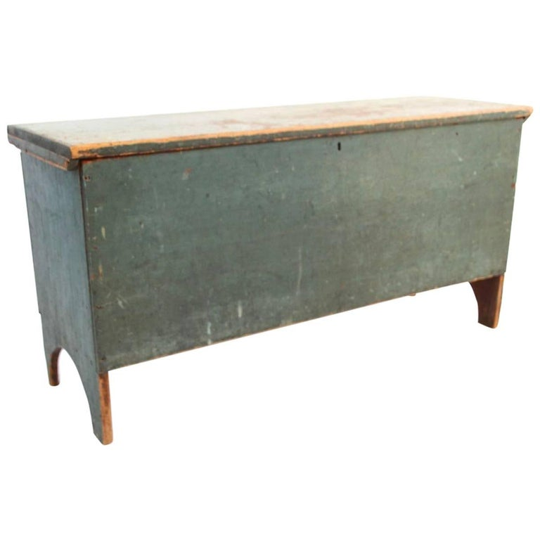 Early American Blue-Green Painted Pine Blanket Chest with Arched Ends