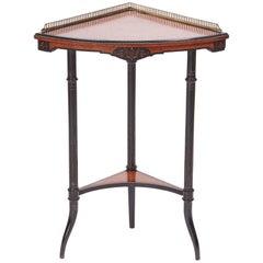 Quality Antique Amboyna and Ebonized Corner Table