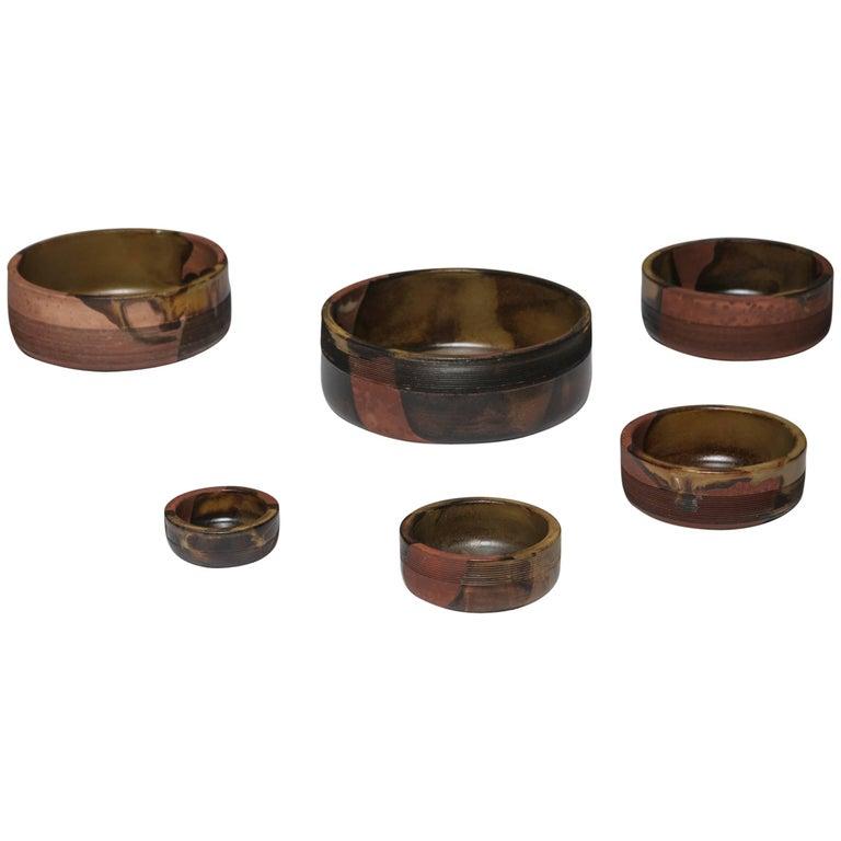 Set of Nesting Ceramic Bowls by Ambrogio Pozzi for Ceramiche Pozzi