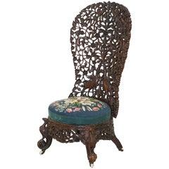 Stunning 19th Century Burmese Hand-Carved Nursing Chair Birds & Flowers All over