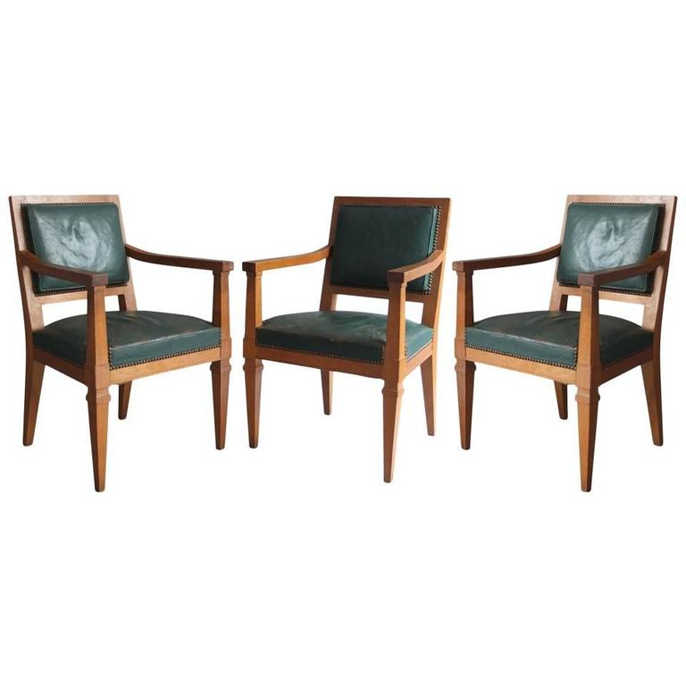 Three Fine French Art Deco Armchairs Attributed to Arbus