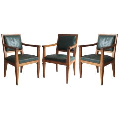 3 Fine French Art Deco Mahogany Armchairs Attributed to Arbus