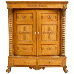 Faux-Bois Painted Scandinavian Armoire with Bowed Front & Bacchus Motif