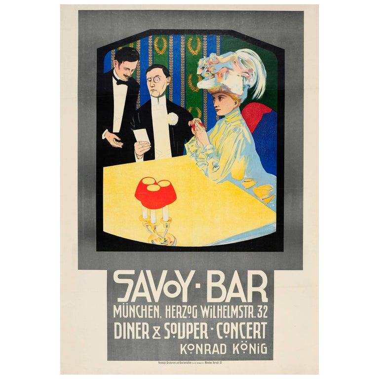 Original Antique Poster for a Dinner Concert at the Savoy Bar Munchen / Munich For Sale