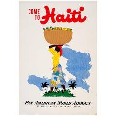Original Vintage Pan Am Travel Poster - Come to Haiti Pan American World Airways