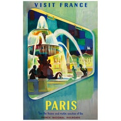 Original Vintage SNCF French National Railroads Travel Poster Visit France Paris