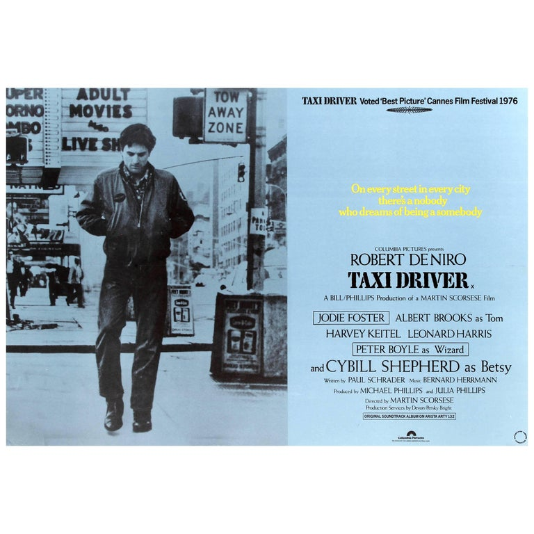 Original Vintage Movie Poster for the Film Taxi Driver Starring Robert De Niro For Sale