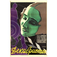 Original Vintage 1927 Constructivist Design Soviet Film Poster for Decembrists