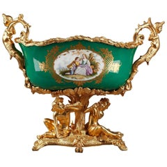 Napoleon III Gilt Bronze-Mounted Green Ground Porcelain Jardinière