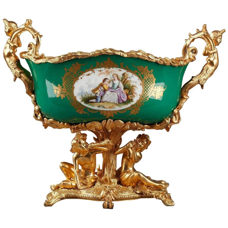 Napoleon III Gilt Bronze-Mounted Green Ground Porcelain Jardinière For Sale